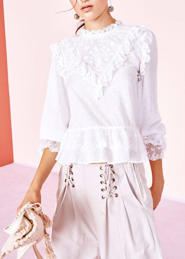 Ulla Johnson noemie ruffle blouse white