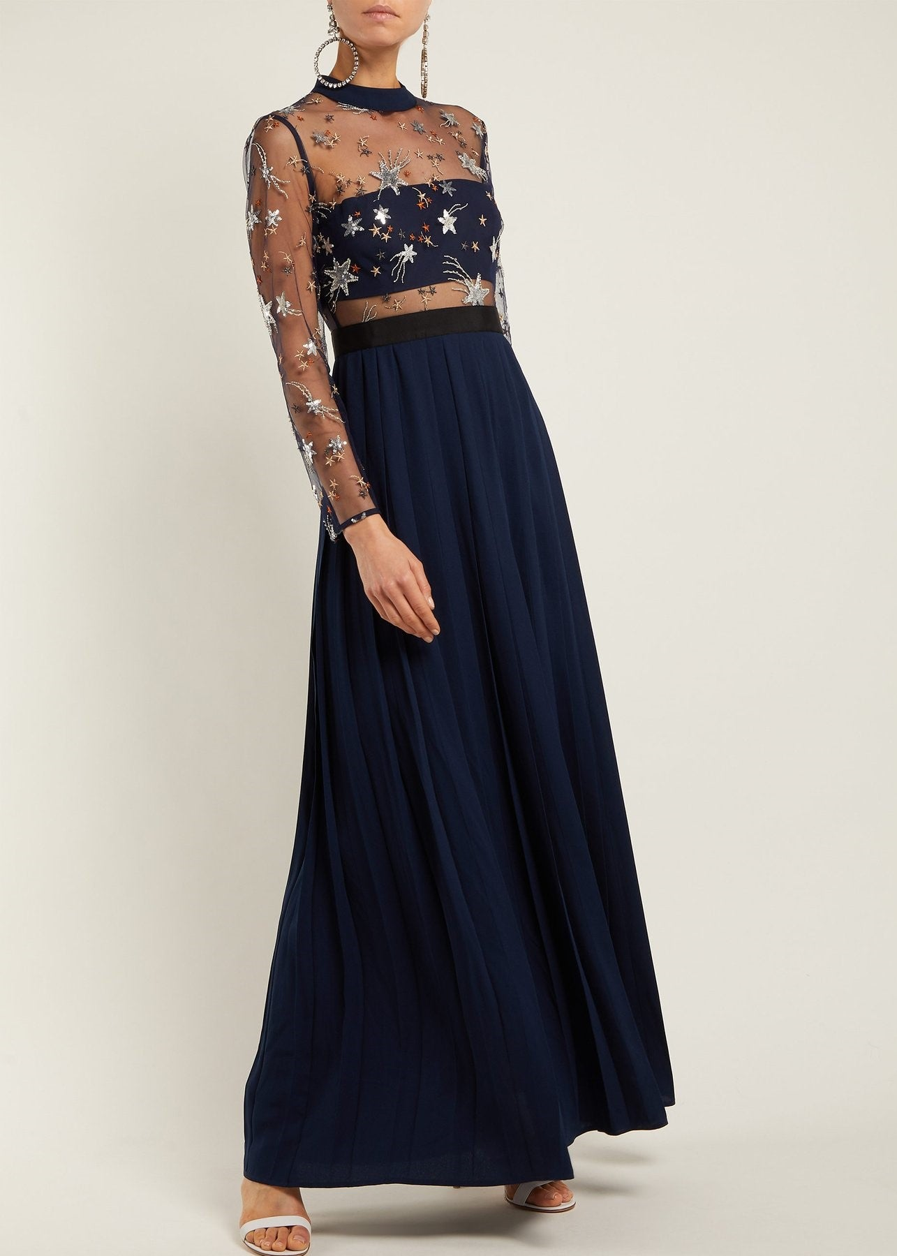 Self Portrait star tulle embellished maxi dress in blue