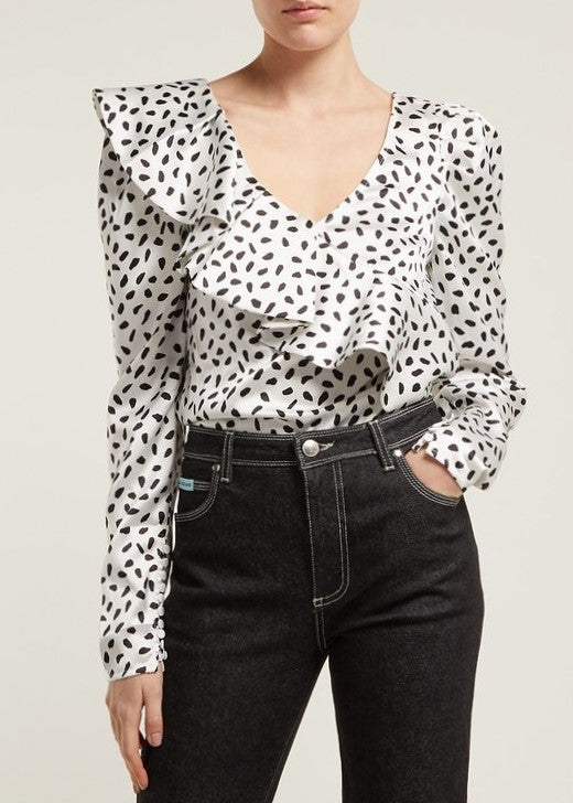 Self Portrait Ivory and black dot satin printed frill top