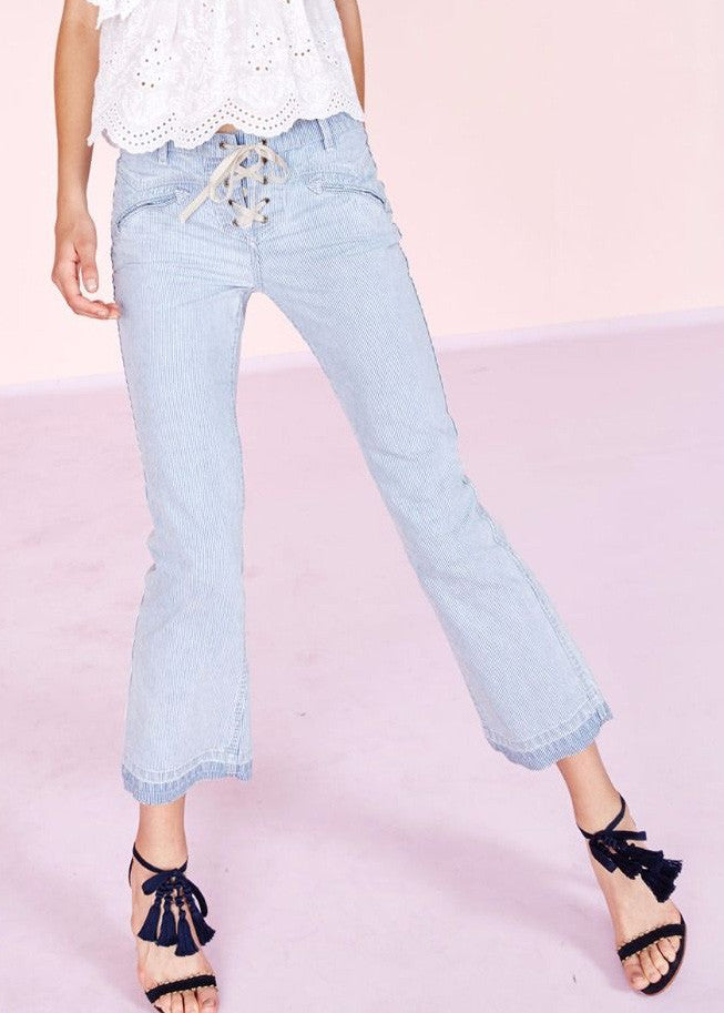 Ulla Johnson patria denim lace up pant stripe