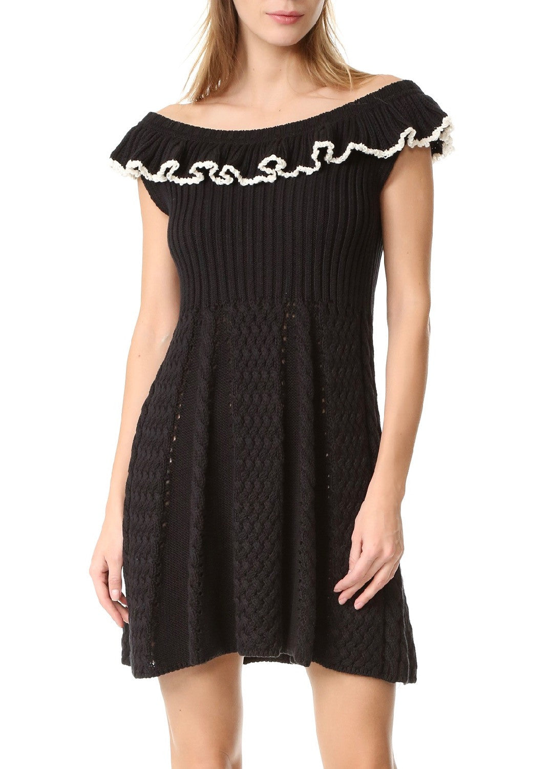 Philosophy di Lorenzo Serafini ruffle shoulder knit dress black