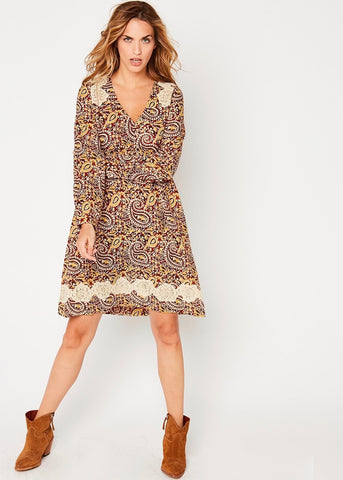 Stella Forest Molly printed dress in marsala