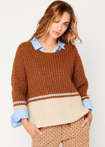Stella Forest marguerita striped sweater in ocre