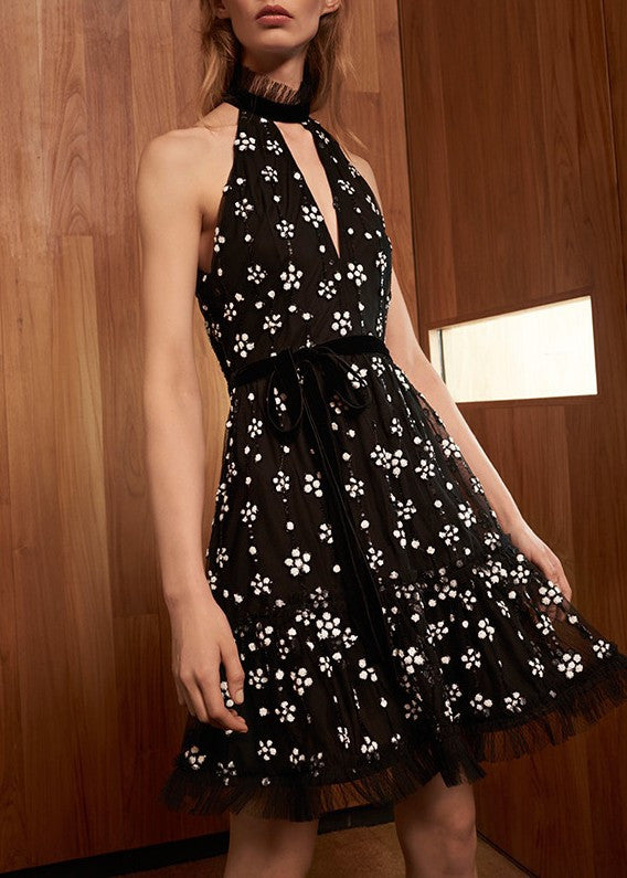 Alexis poppy dress black sequins
