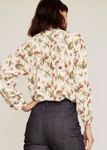 No. 6 Quincy shirt in cream English pheasant print