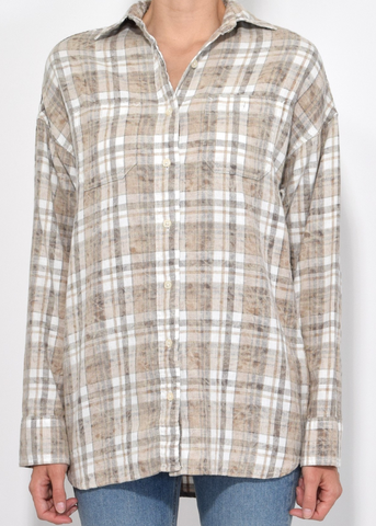 R13 big boy shirt ecru plaid