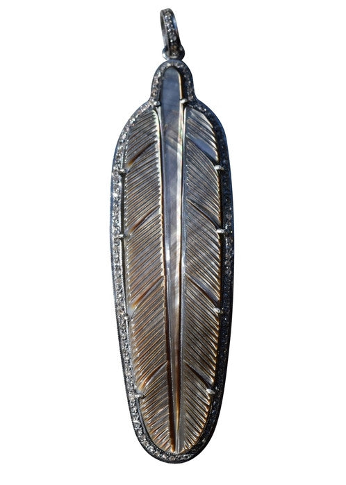 S. Carter Brown Mother of Pearl Feather Pendant