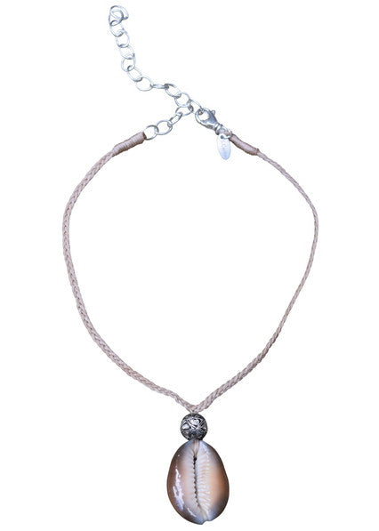 S. Carter Designs cowrie shell and 10mm diamond ball necklace