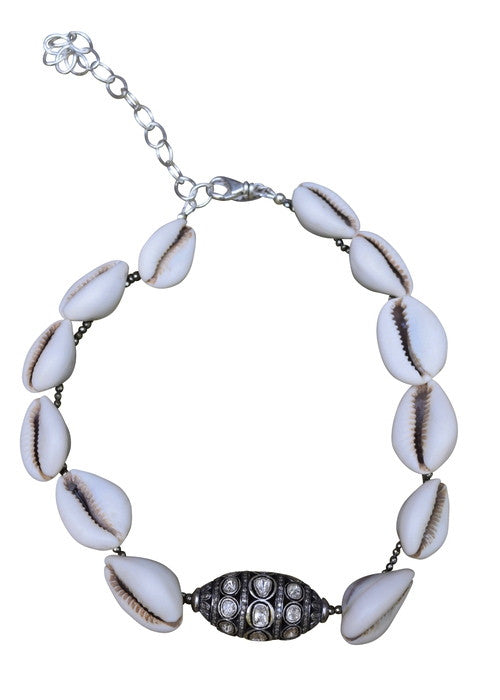 S Carter Designs cowrie shells and large diamond barrel necklace