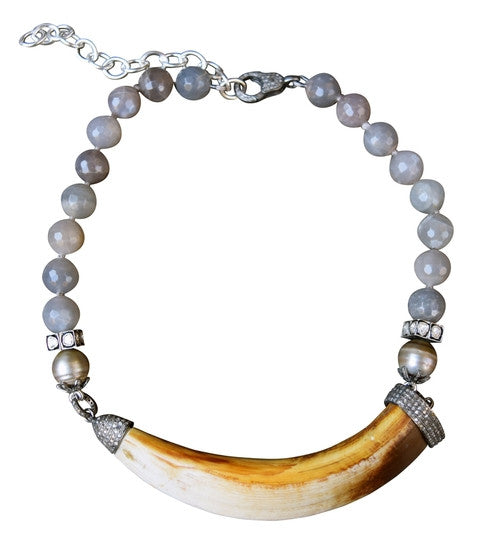 S. Carter Moonstone and Double Capped Boar's Tusk Necklace