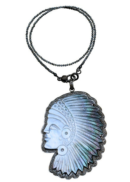S Carter short hematite necklace with pave diamond baby clasp with removable small mother of pearl headdress pendant