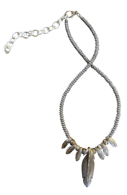 S. Carter Small Diamond Feather and Matte Pyrite Necklace