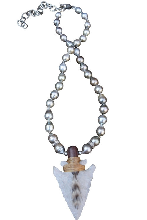 S Carter wooden dowel wrapped agate arrowhead necklace w/ feather knotted on silk with Tahitian pearls and 8 mm rosecut diamond rondels;finished with an adjustable sterling silver and pave diamond baby clasp