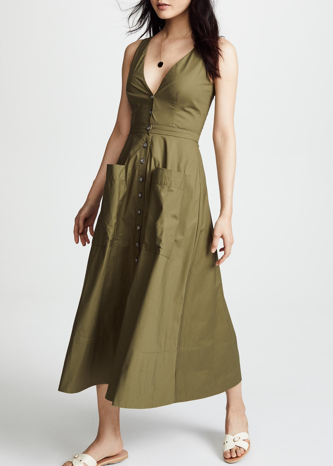 Saloni Zoe cutout dress in military green