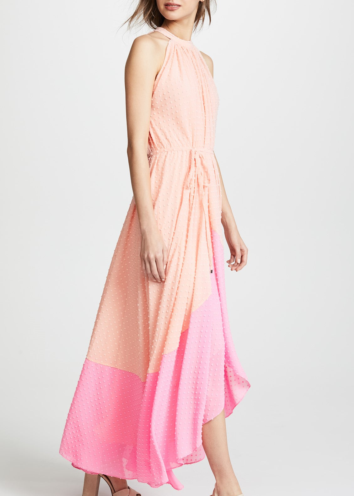Saloni Iris dress in light peach mid pink