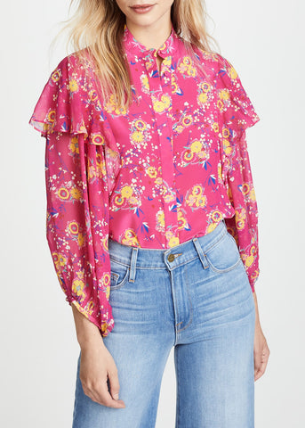 Saloni Chloe top in shocking pink pimpernell