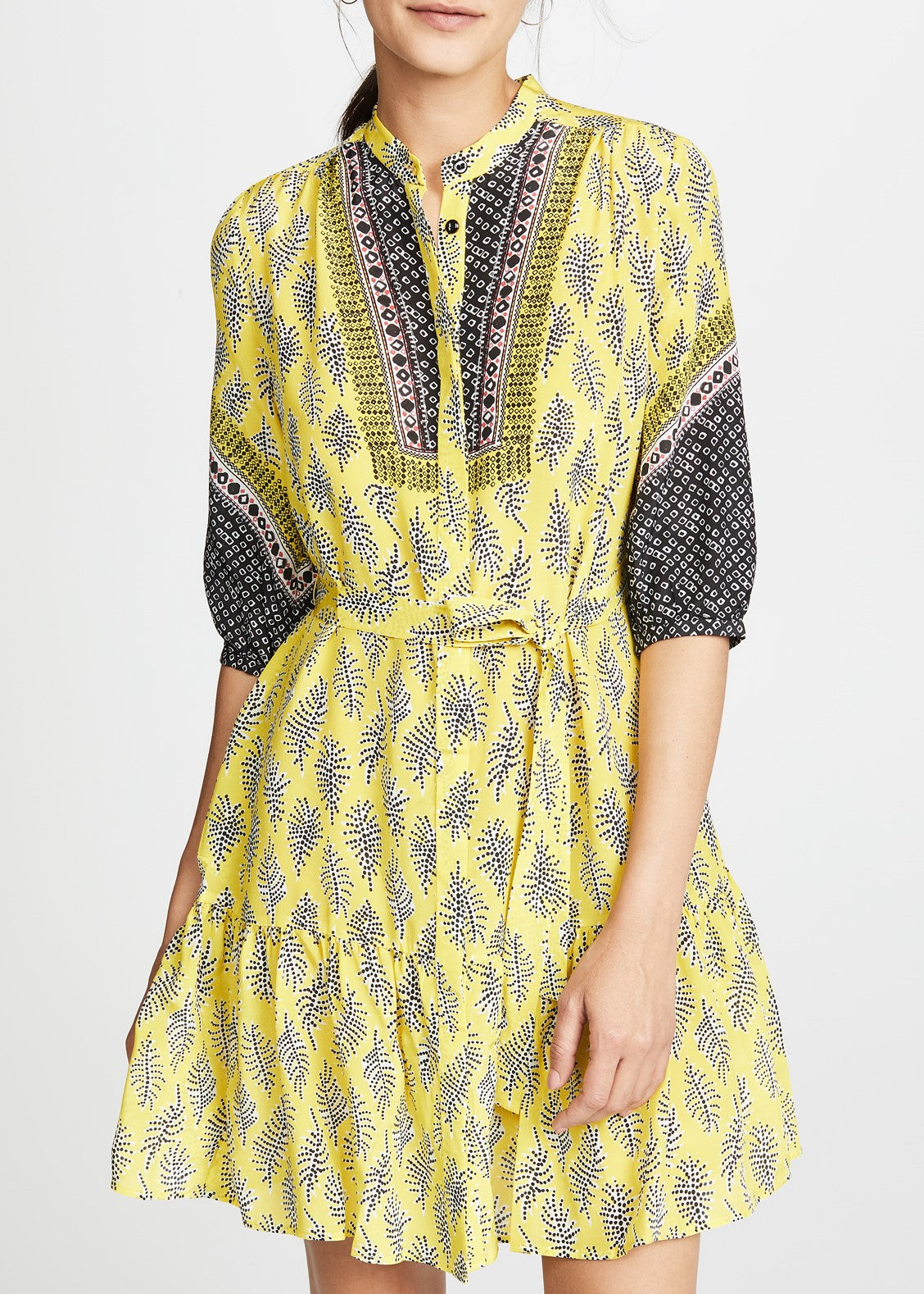 Saloni Tyra dress in golden fringe plmt