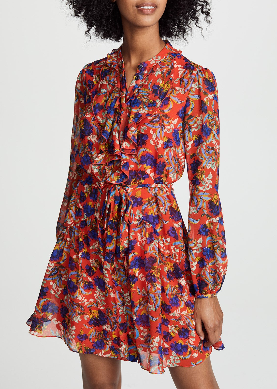 Saloni Tilly ruffle dress in flame azalea