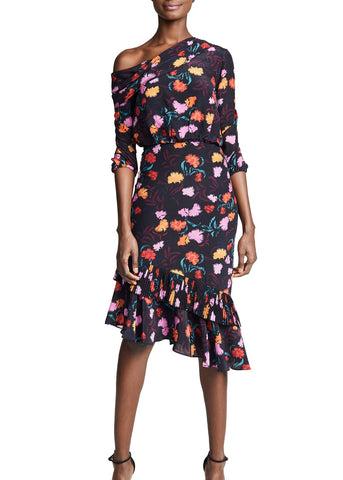 Saloni Lexie midi dress in black azalea