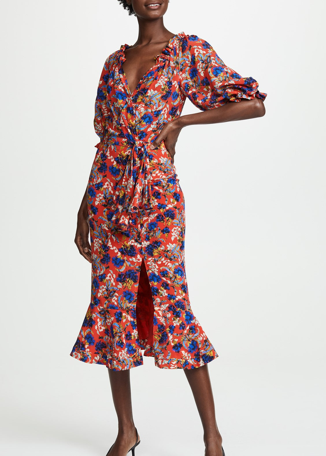 Saloni Olivia dress in flame azalea