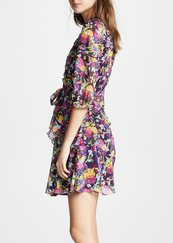 Saloni Tilly ruffle dress in camellia