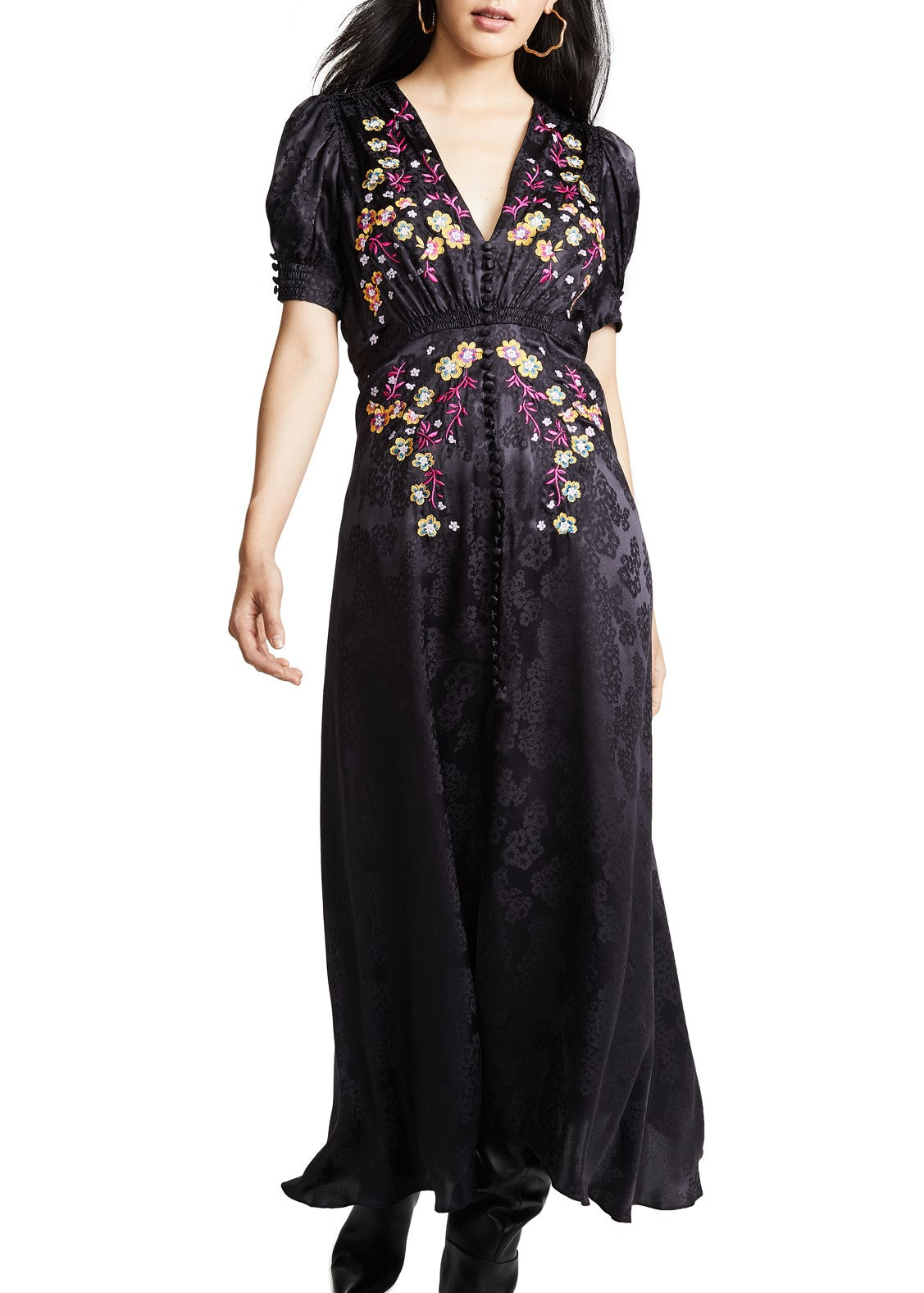 Saloni Lea dress in dark purple embroidery
