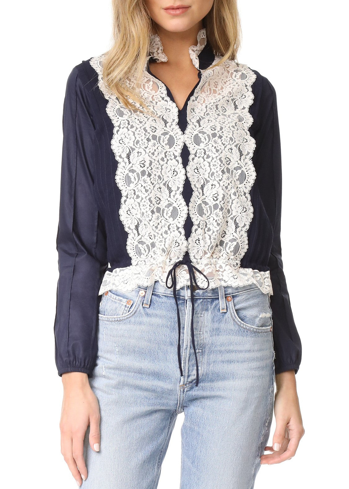 See by Chloe lace longsleeve blouse navy