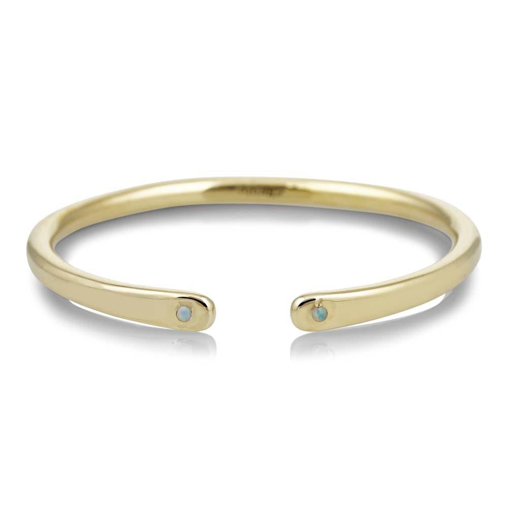 Scosha brass open cuff with 2.3mm opal