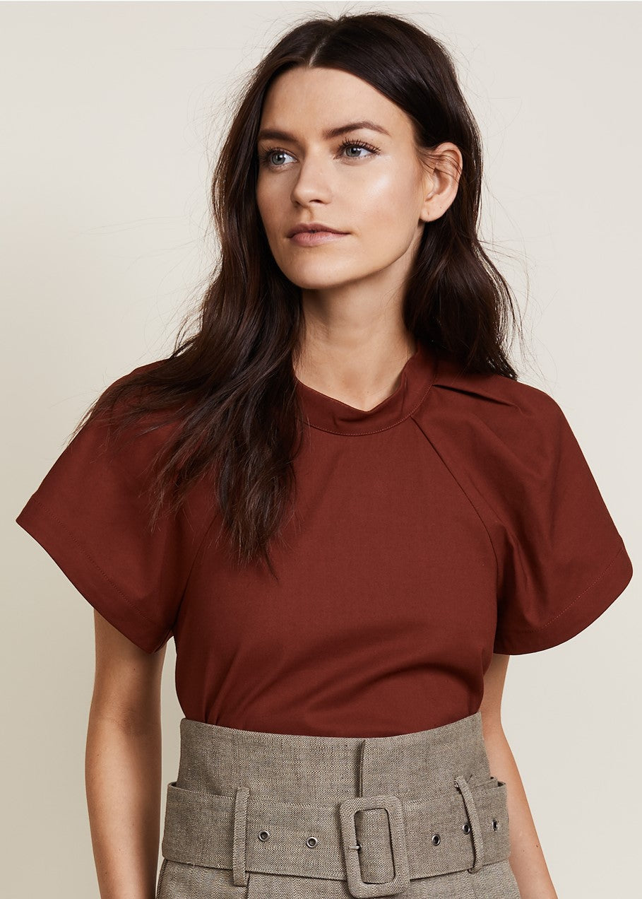 Sea pleated puff sleeve top brick