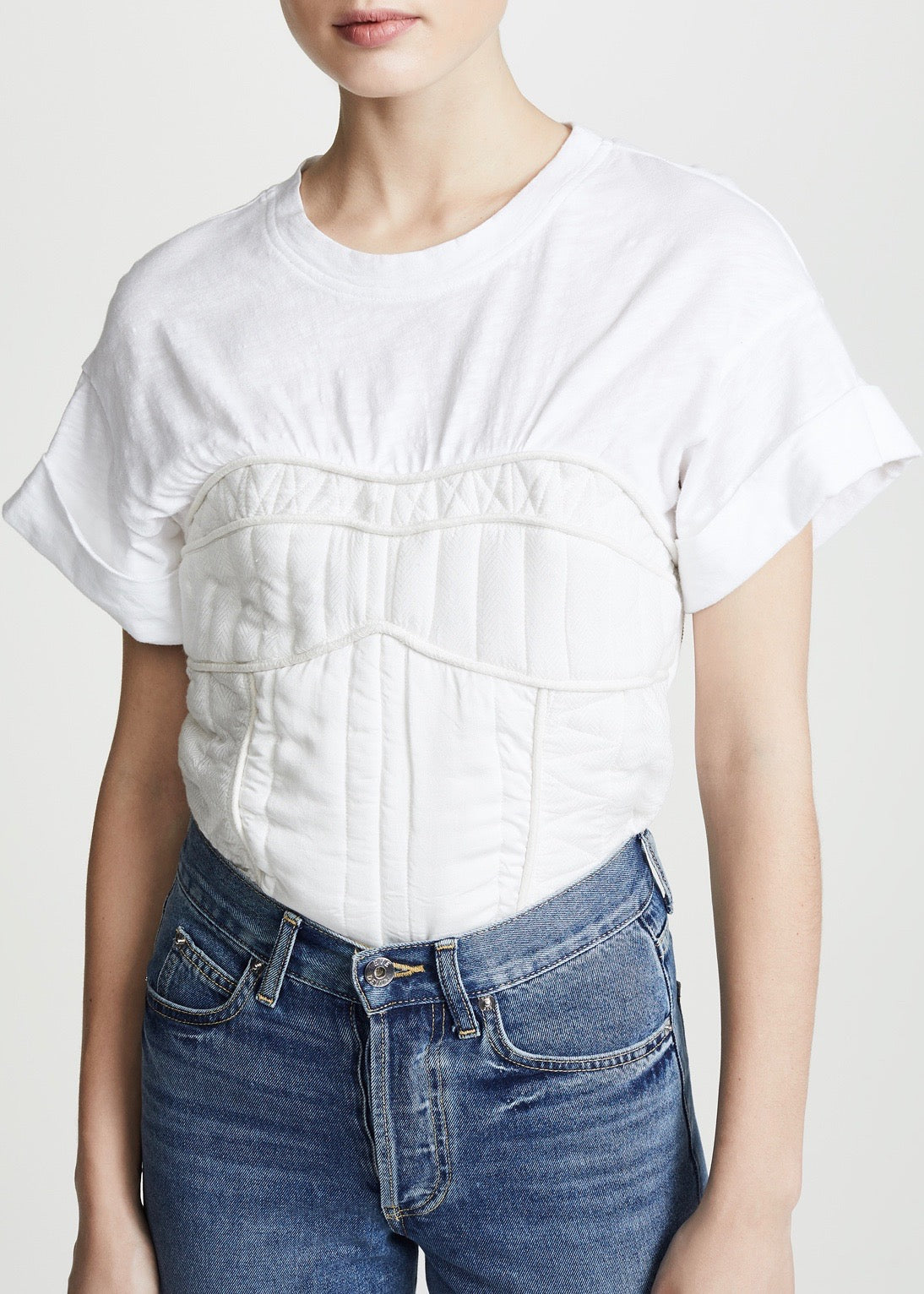 Sea O'Keefe quilted corset tee in eggshell