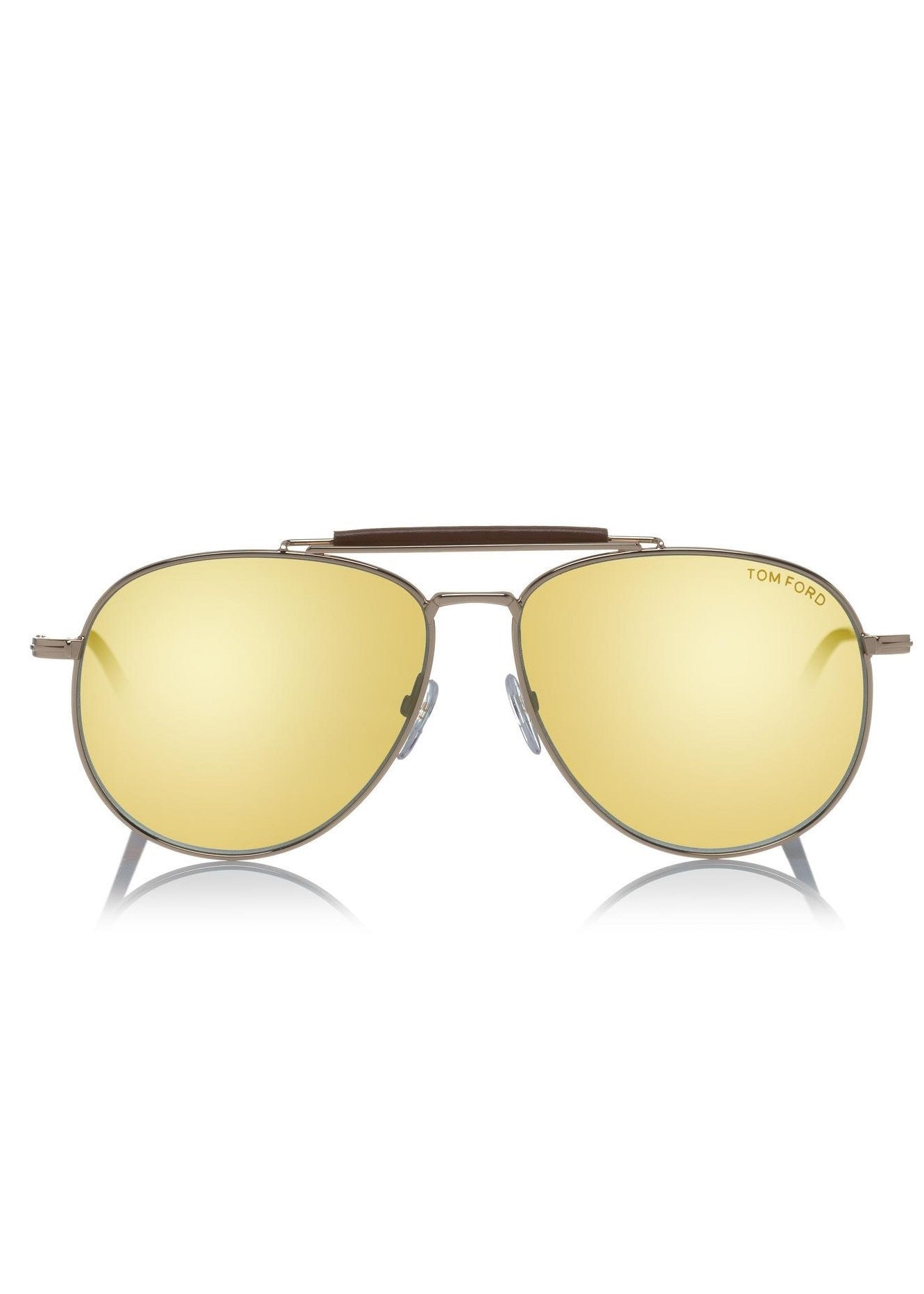Tom Ford sean aviator sunglasses with leather detail gold