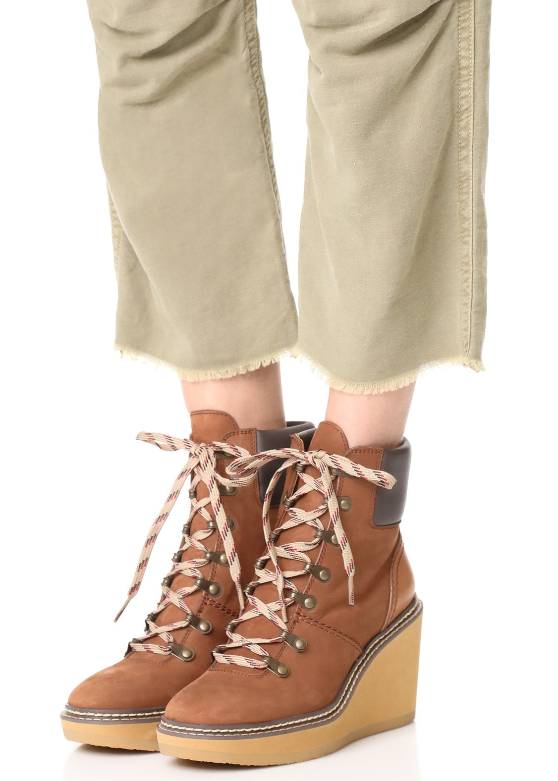 See by Chloe eileen lace up hiker wedge boot luggage