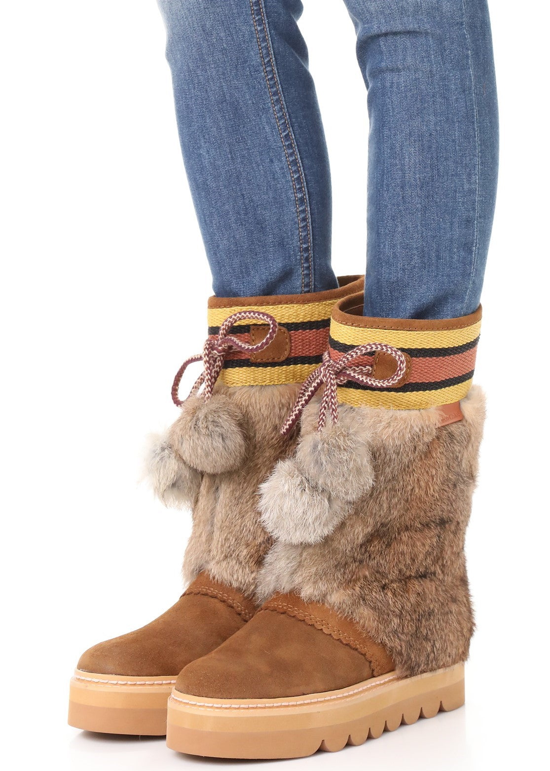 See by Chloe oxana wedge boot with rabbit fur detail