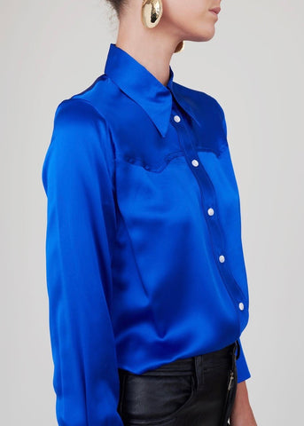 No. 6 Sergio western shirt in royal charmeuse