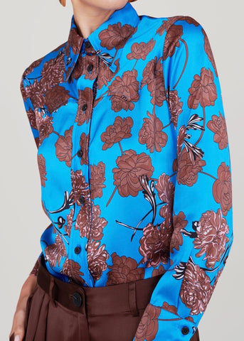 No. 6 Sergio western shirt in electric blue faux-croix