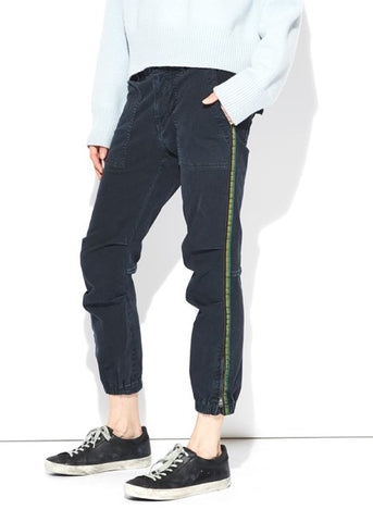Nili Lotan CROPPED FRENCH MILITARY pant with tape navy
