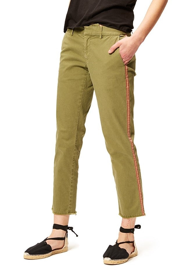 Nili Lotan east hampton pant with tape in army green