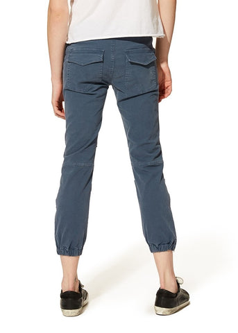 Nili Lotan cropped french military pant in worker blue
