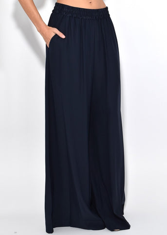 T by Alexander Wang wide leg pull on pant navy
