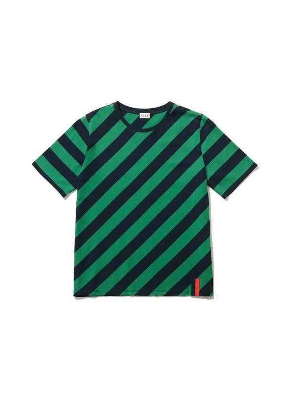 Kule modern diagonal striped t-shirt in green/navy