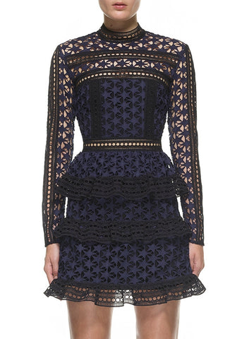 Self Portrait high neck star lace panelled dress navy