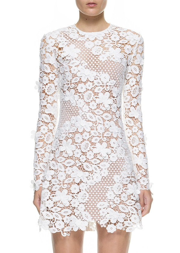 Self Portrait 3D floral mini dress white