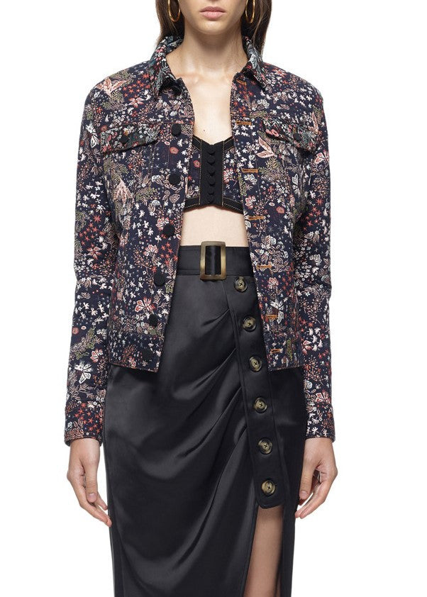 Self Portrait jacquard utility jacket multi