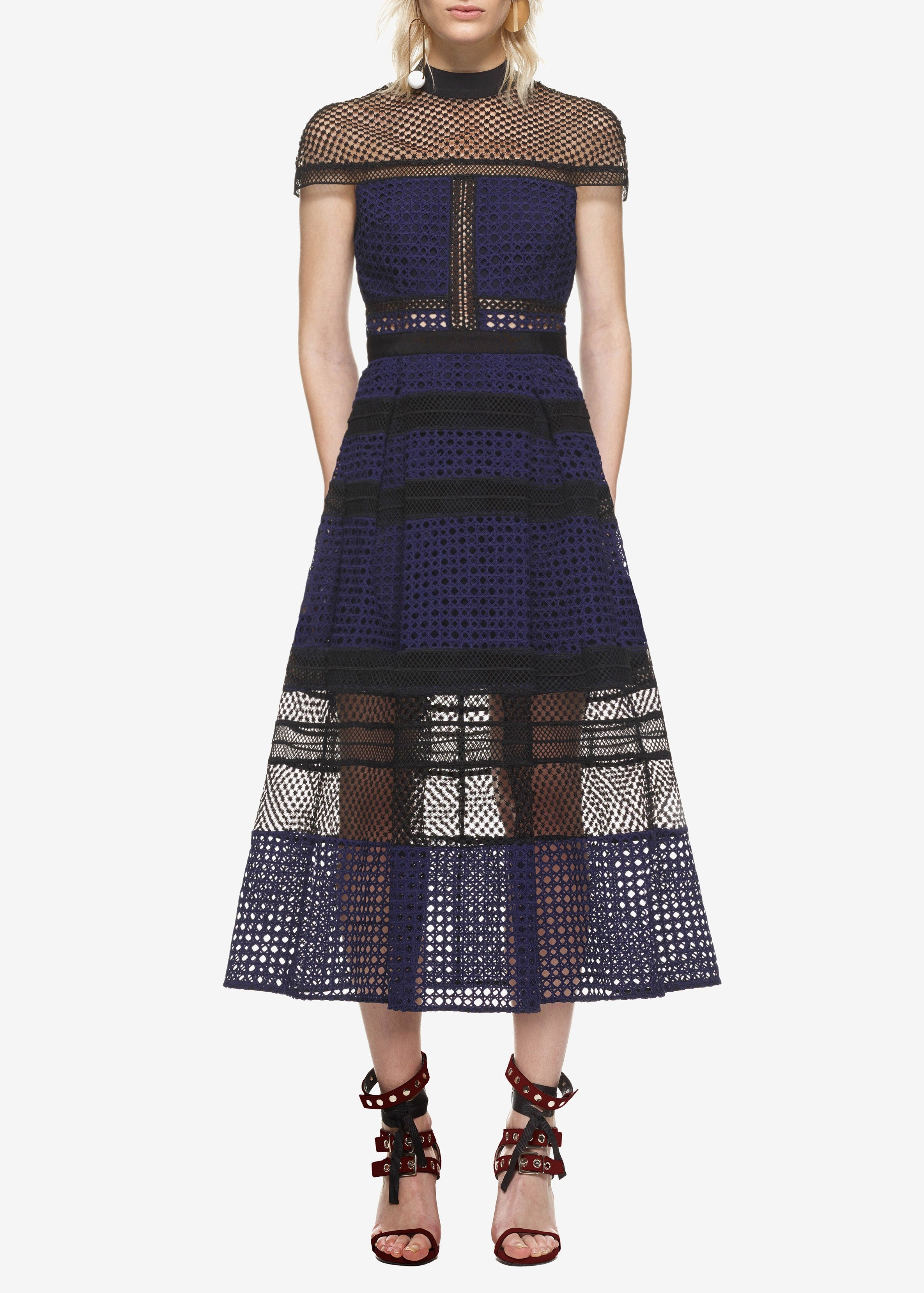 Self Portrait crosshatch panelled midi dress navy