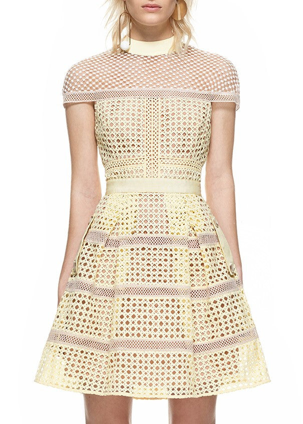 Self Portrait crosshatch panelled mini dress yellow