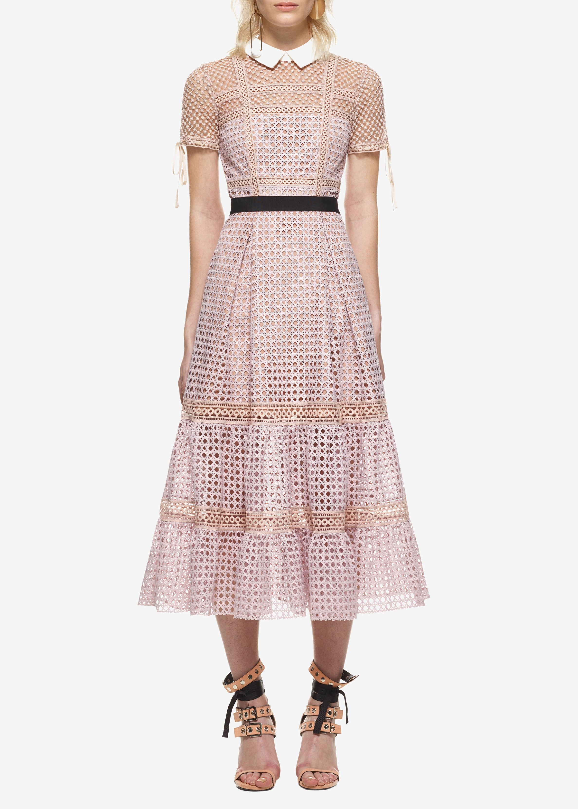 Self Portrait crosshatch tiered midi dress mauve