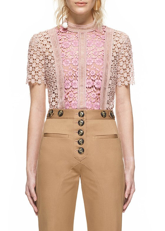 Self Portrait payne panelled top blush