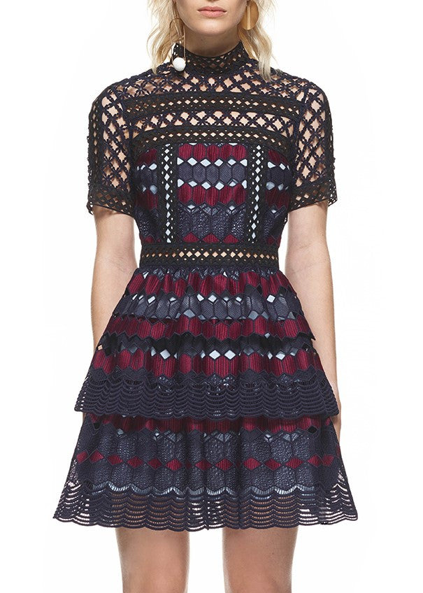 Self Portrait hexagon lace mini dress multi