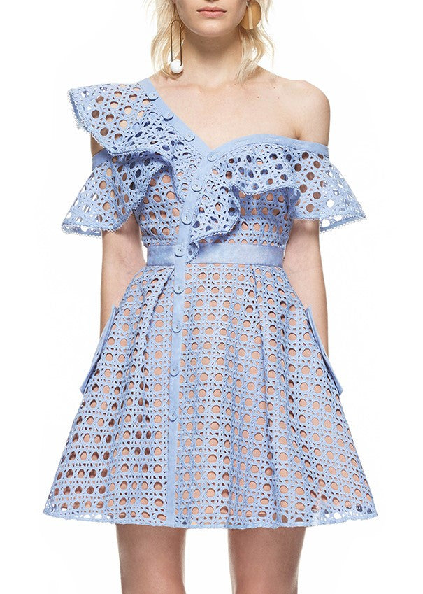 Self Portrait guipure frill mini dress baby blue