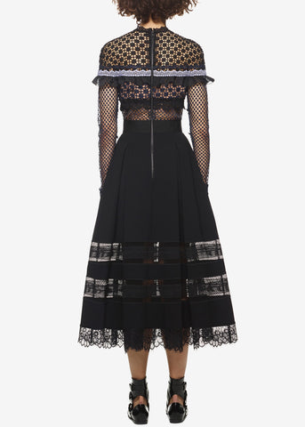 Self Portrait bellis lace trim dress with full skirt navy